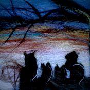 """Картины и панно ручной работы. Ярмарка Мастеров - ручная работа Шерстяная акварель """"Коты-воители"""".. Handmade."""
