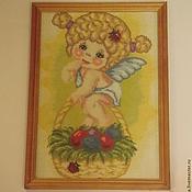 """Картины и панно ручной работы. Ярмарка Мастеров - ручная работа Вышитая картина """"Пасхальный ангелочек"""". Handmade."""