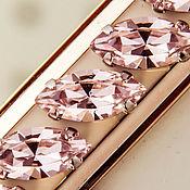 Материалы для творчества handmade. Livemaster - original item Crystals in frames Premium Navette15x7 mm Light Rose Pink 4228. Handmade.