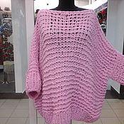 Одежда ручной работы. Ярмарка Мастеров - ручная работа свитер оверсайз розового цвета. Handmade.