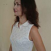 Одежда ручной работы. Ярмарка Мастеров - ручная работа Блуза лён вязаная. Handmade.