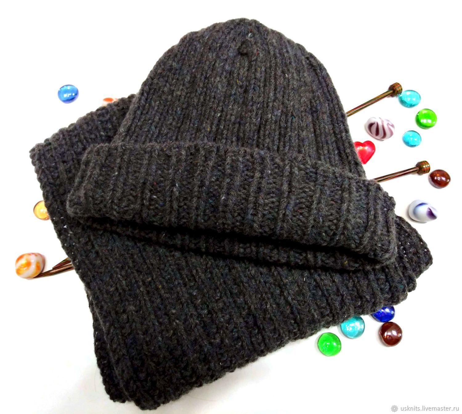 Knitted unisex tweed hat and scarf set, Caps, Korolev,  Фото №1