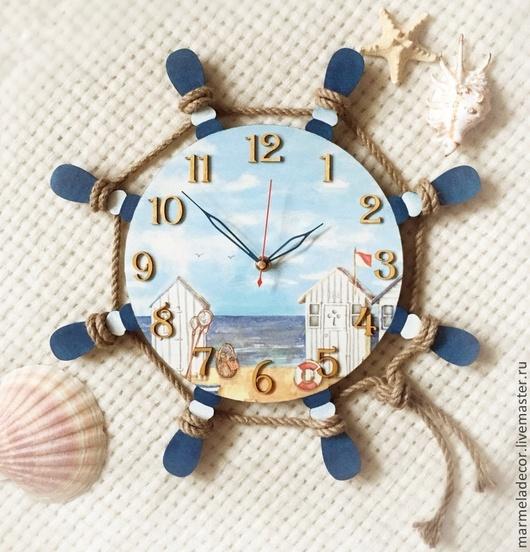 Часы для дома ручной работы. Ярмарка Мастеров - ручная работа. Купить Часы настенные в морском стиле. Handmade. Часы, Декор