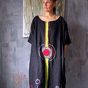 Платье дизайнерское льняное.Сказочные Цветы