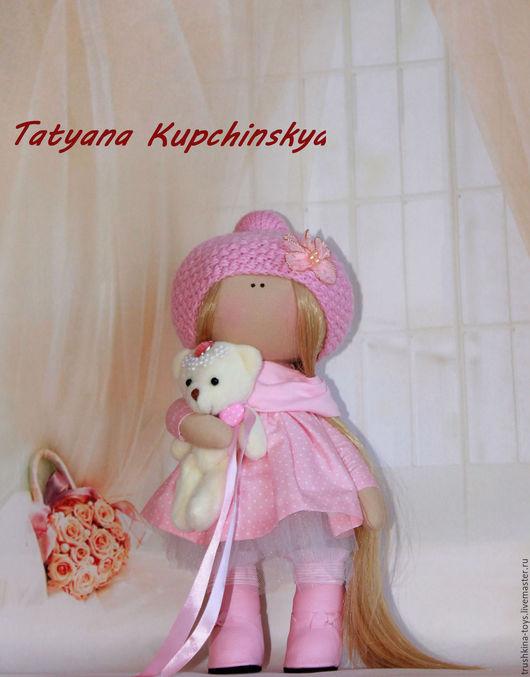 Куклы тыквоголовки ручной работы. Ярмарка Мастеров - ручная работа. Купить Куколка Моника.. Handmade. Бледно-розовый, хлопок 100%