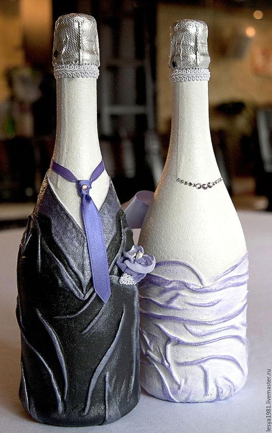 Свадебные аксессуары ручной работы. Ярмарка Мастеров - ручная работа. Купить Декор свадебных бутылок. Handmade. Декор шампанского, ткань