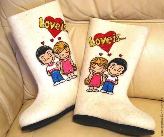 Обувь ручной работы. Ярмарка Мастеров - ручная работа. Купить Любовь это. Handmade. Белый, валенки, войлок, Валяние, обувь для зимы