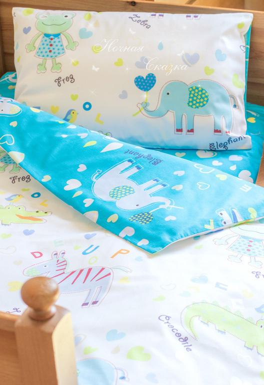 Детская ручной работы. Ярмарка Мастеров - ручная работа. Купить Комплект в кроватку детское постельное белье Зоопарк синий. Handmade.