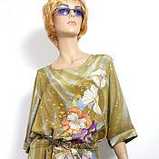 """Одежда ручной работы. Ярмарка Мастеров - ручная работа Платье на заказ """"Цветочный блюз"""" - батик, шелк,ручная роспись. Handmade."""