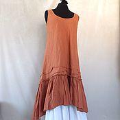 Одежда handmade. Livemaster - original item Terracotta linen dress in the style boho. Handmade.