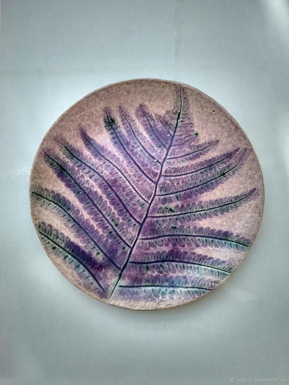 Сиреневая керамическая тарелка с отпечатком папоротника, Тарелки, Санкт-Петербург,  Фото №1