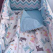 Работы для детей, ручной работы. Ярмарка Мастеров - ручная работа Комплект: Бортики, простынь, одеялко, подушка. Handmade.