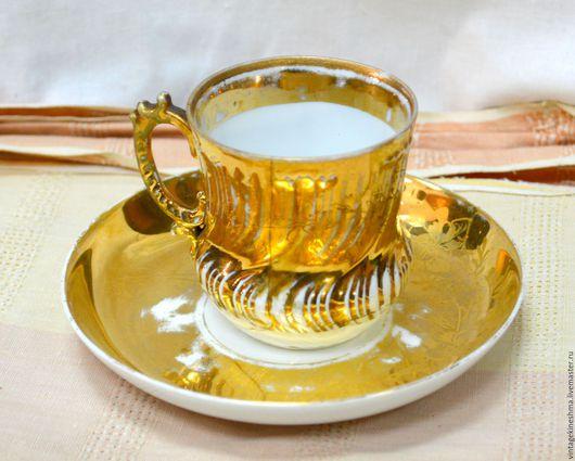 Винтажная посуда. Ярмарка Мастеров - ручная работа. Купить Чайная пара  Кузнецовской фабрики в позолоте.. Handmade. Комбинированный, подарок, посуда