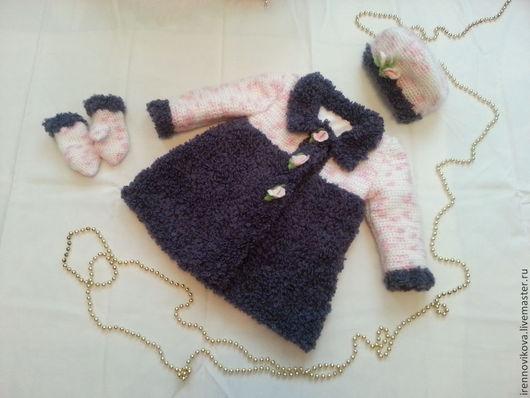"""Одежда для девочек, ручной работы. Ярмарка Мастеров - ручная работа. Купить Комплект  для девочки """"Княжна"""". Handmade. Пальто, шапочка вязаная"""
