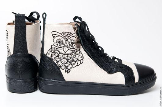 Обувь ручной работы. Ярмарка Мастеров - ручная работа. Купить -30%! Кеды Sova. Handmade. Комбинированный, вышивка