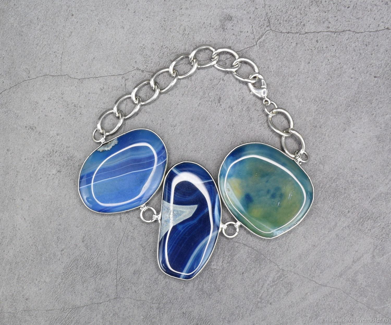 Bright blue bracelet natural agate, Bead bracelet, Moscow,  Фото №1
