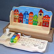 """Для дома и интерьера ручной работы. Ярмарка Мастеров - ручная работа Полка """"Домики"""" (набор с контурами и красками) для детской. Handmade."""