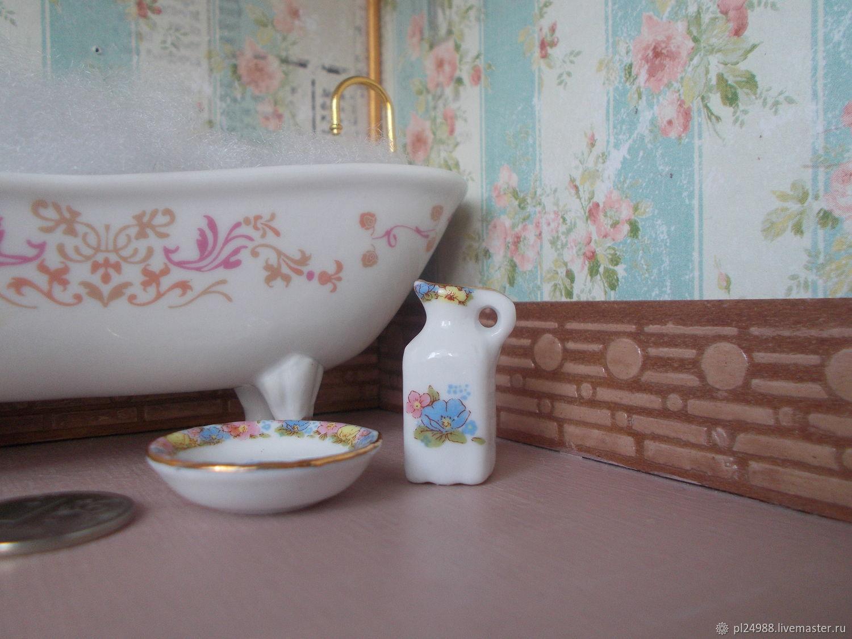 Кукольная миниатюра 1:12, кувшинчик и тазик, фарфор, Китай, Аксессуары для кукол и игрушек, Псков,  Фото №1
