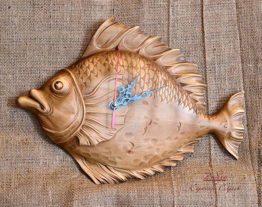 Часы для дома ручной работы. Ярмарка Мастеров - ручная работа. Купить Рыба ( часы ). Handmade. Коричневый