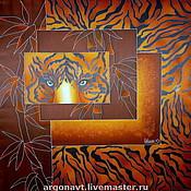 """Аксессуары ручной работы. Ярмарка Мастеров - ручная работа Платок """"Глаза тигра"""". Handmade."""