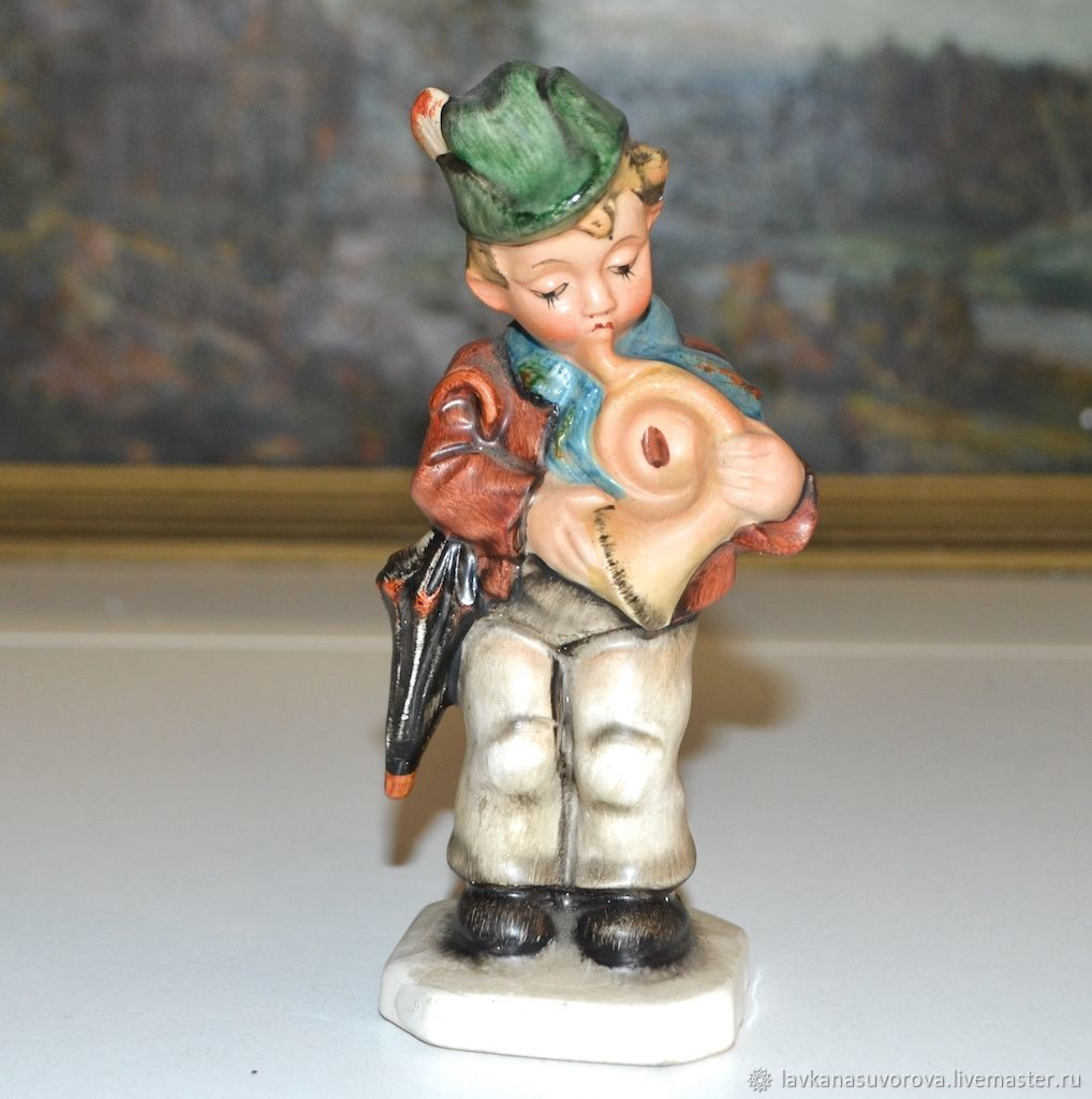 Figurine BOY WITH PIPE Friedel porcelain Germany, Vintage interior, Rostov-on-Don,  Фото №1