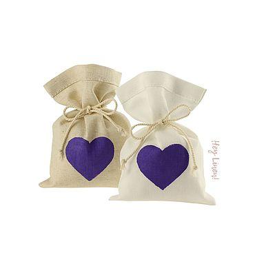 Свадебный салон ручной работы. Ярмарка Мастеров - ручная работа 10х15см. 10шт. Мешочки льняные с фиолетовым сердцем. Handmade.