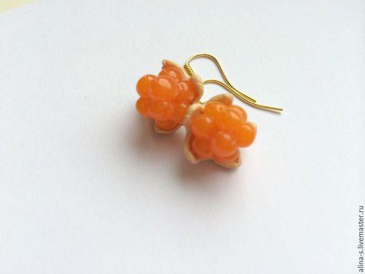 Серьги ручной работы. Ярмарка Мастеров - ручная работа. Купить серьги сережки морошка Бусы ягода cloudberry earrings polymer clay. Handmade.