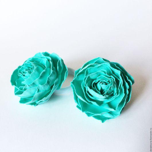 Заколки ручной работы. Ярмарка Мастеров - ручная работа. Купить Резиночки для волос. Мятная роза из фоамирана. Мята.. Handmade. Мятный