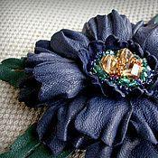 Украшения handmade. Livemaster - original item brooch leather twilight. Handmade.