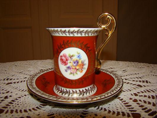 Винтажная посуда. Ярмарка Мастеров - ручная работа. Купить Фарфоровая кофейная пара- кофейная чашка с блюдцем. Handmade. Кофейная чашка