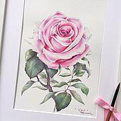 Картины и панно handmade. Livemaster - original item Watercolor rose on March 8 to buy a watercolor drawing. Handmade.