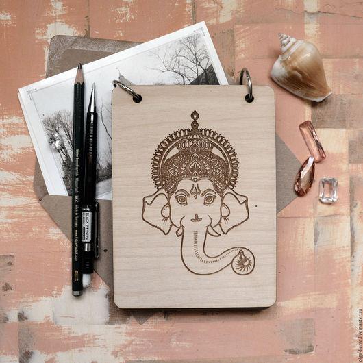 """Блокноты ручной работы. Ярмарка Мастеров - ручная работа. Купить Деревянный блокнот """"Ганеша"""". Handmade. Бежевый, дух индии, гравировка"""
