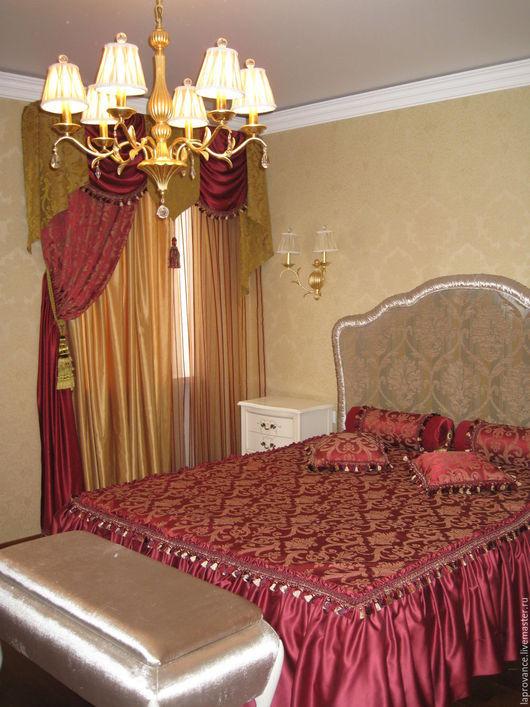 Текстиль, ковры ручной работы. Ярмарка Мастеров - ручная работа. Купить Комплект для спальни Бордо с золотом. Handmade. Бордовый