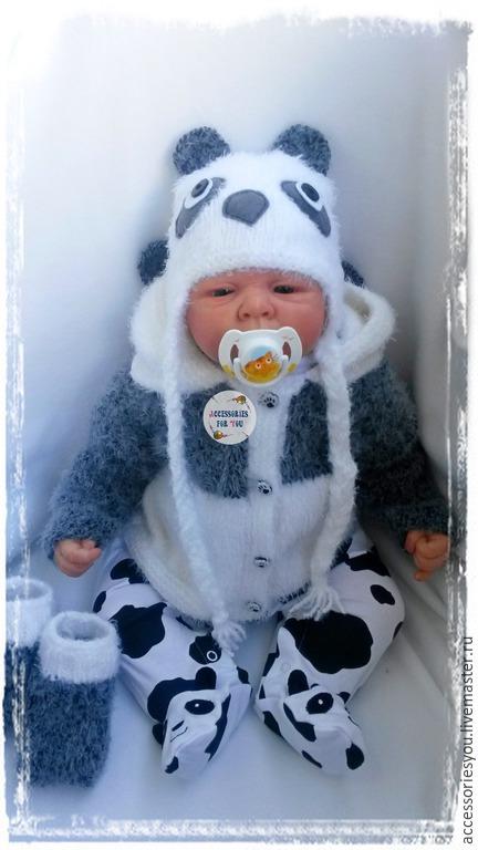 """Одежда ручной работы. Ярмарка Мастеров - ручная работа. Купить Комплект"""" Panda"""" 4 предм.в налич.. Handmade. Чёрно-белый"""