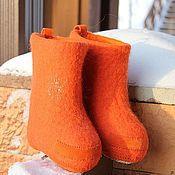 """Обувь ручной работы. Ярмарка Мастеров - ручная работа Валенки детские """"Радужные - оранж"""". Handmade."""