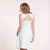 Одежда ручной работы. Ярмарка Мастеров - ручная работа 179: белое платье с открытой спиной, коктейльное платье из жаккарда. Handmade.