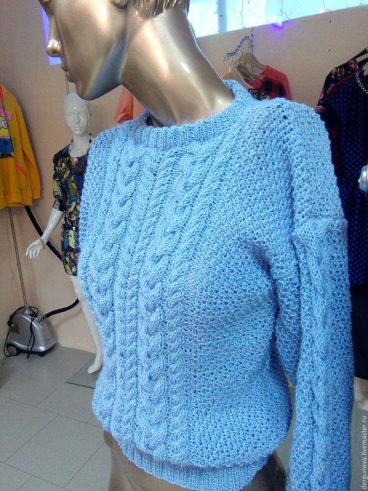 Кофты и свитера ручной работы. Ярмарка Мастеров - ручная работа. Купить Пуловер. Handmade. Голубой, одежда, спицами