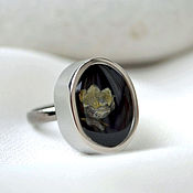 Украшения handmade. Livemaster - original item Large ring with a real flower Lily of the valley from titanium Oval ring. Handmade.