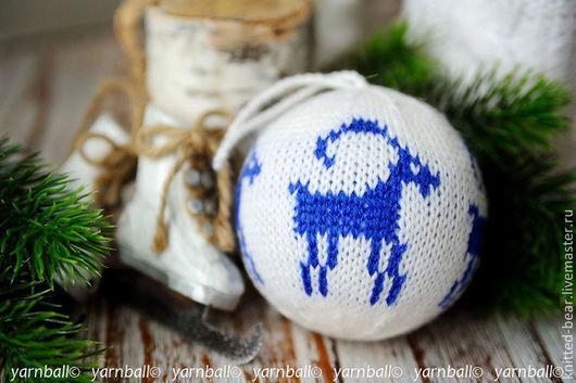 """Новый год 2017 ручной работы. Ярмарка Мастеров - ручная работа. Купить Вязаный новогодний шар """"Коза"""". Handmade. Тёмно-синий"""