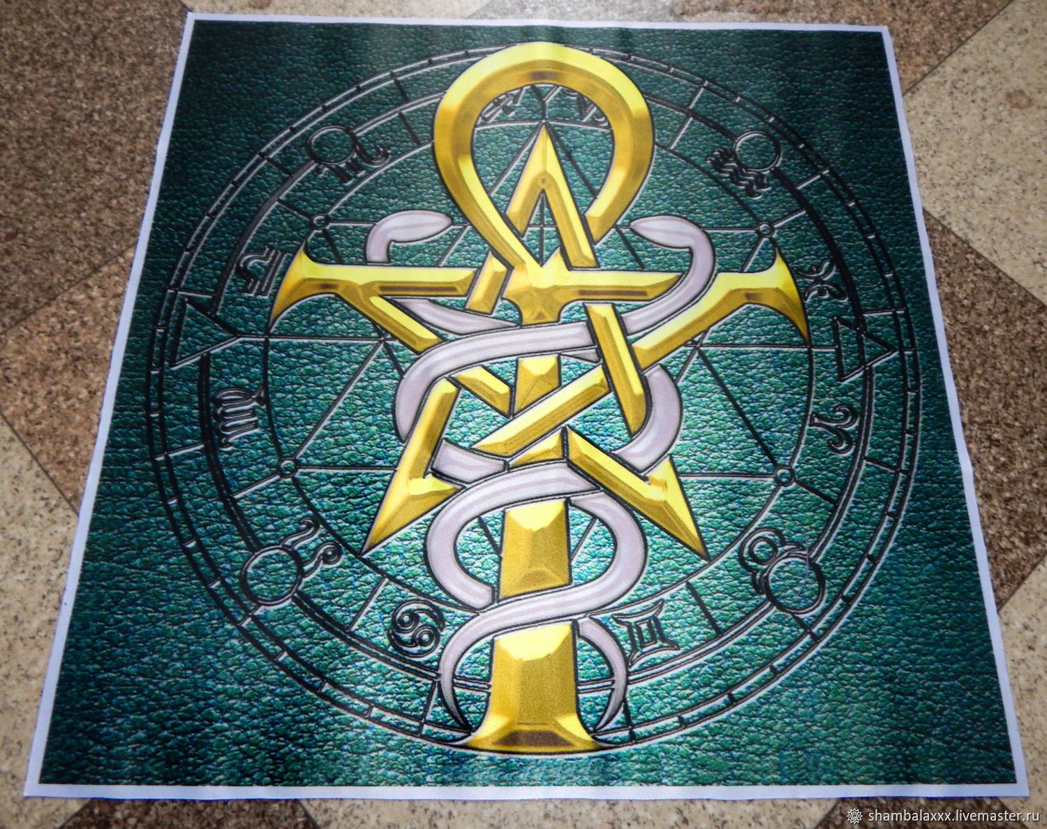 Pentagram And Ankh Altar Cloth Table Cloth For Divination Shop