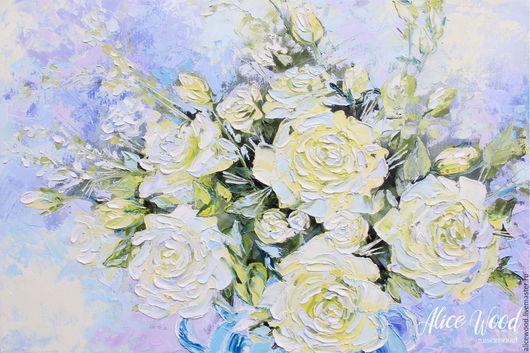 Alice Wood / Картины цветов ручной работы. Ярмарка Мастеров - ручная работа. Купить картину Белые розы. Картина с букетом роз. Картина маслом на холсте. Цветы в вазе. Handmade