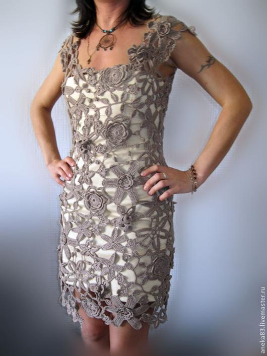 Платья ручной работы. Ярмарка Мастеров - ручная работа. Купить Маленькое бежевое платье.. Handmade. Бежевый, вязаное платье купить