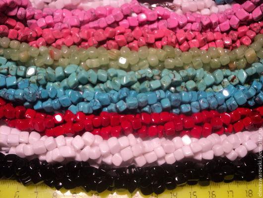 Для украшений ручной работы. Ярмарка Мастеров - ручная работа. Купить Кубики из пресованных камней (неправильной формы).. Handmade. Разноцветный