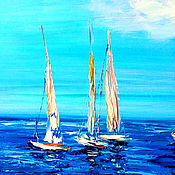 Картины и панно handmade. Livemaster - original item Oil painting. Sailboats on the Mediterranean. Handmade.