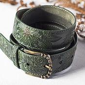 Аксессуары handmade. Livemaster - original item Dark green leather belt. Handmade.
