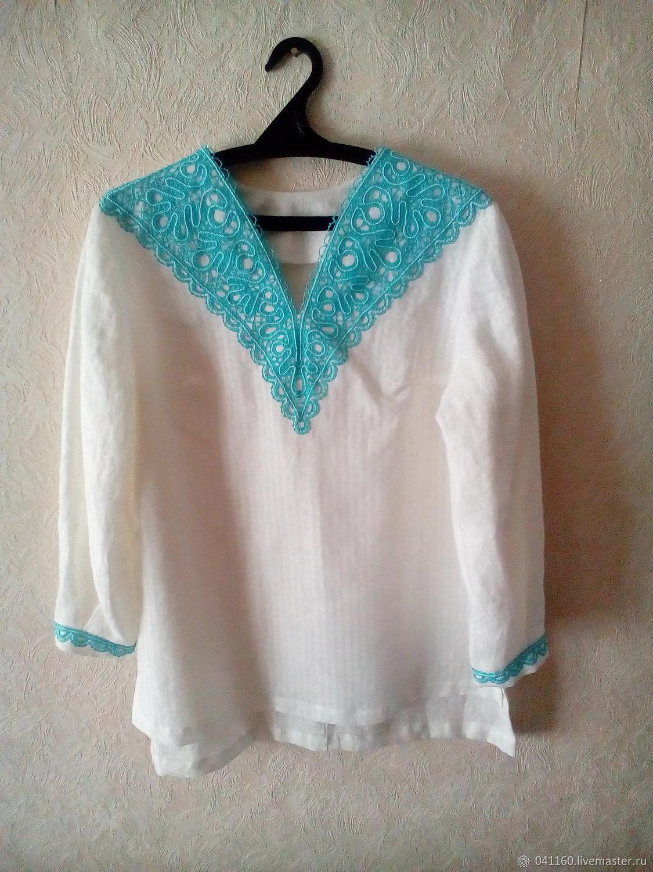 Блузки ручной работы. Ярмарка Мастеров - ручная работа. Купить Блуза с кружевом р. 46-48. Handmade. Белый