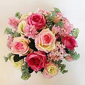 Цветы и флористика ручной работы. Ярмарка Мастеров - ручная работа Цветочная композиция в розовом цвете. Handmade.