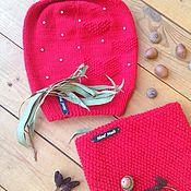 Аксессуары ручной работы. Ярмарка Мастеров - ручная работа Ярко-красная Шапка и снуд-воротник с сердечками(удлинённая шапка Bini). Handmade.
