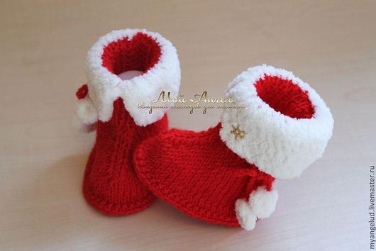 """Для новорожденных, ручной работы. Ярмарка Мастеров - ручная работа. Купить Пинетки """"Рождественские"""". Handmade. Ярко-красный, пинетки для новорожденных"""