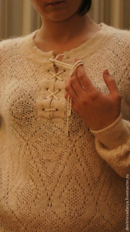 """Кофты и свитера ручной работы. Ярмарка Мастеров - ручная работа. Купить Туника """"козий пух"""". Handmade. Белый, натуральный, ажурный"""